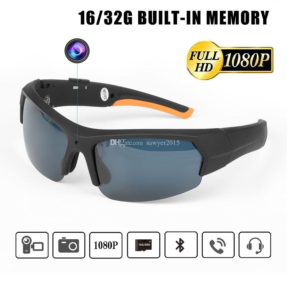 Высокой четкости 1080p камера солнцезащитные очки с Bluetooth MP3-плеер 16 ГБ 32 ГБ очки мини-DV видеорегистратор из дверь очки цифровой видеорегистратор