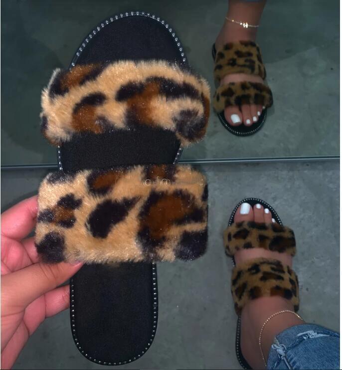 2020 Summer Fur Slippers Women New Strap Fox Fur Slides Home Furry Flat Sandals Female Cute Fluffy House Shoes Woman Slipper Sandals Flat