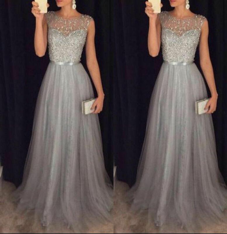 Frauen Elegante Formale Abend Party Mesh Sleeveless Hohe Taille Pailletten Shinning Hochzeit Ball Prom Kleid langes Kleid