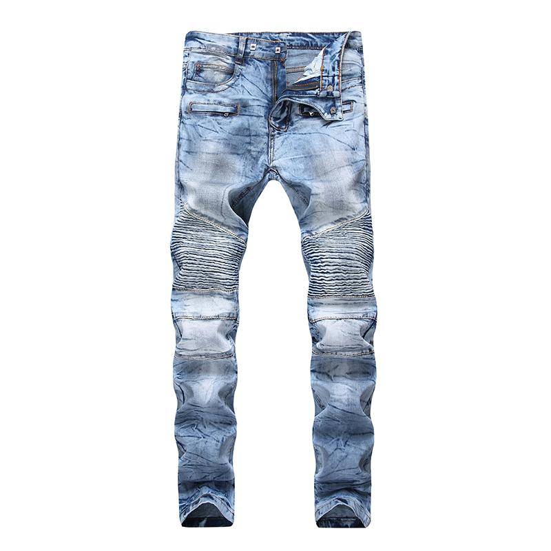 Hip Hola motorista los pantalones vaqueros del copo de nieve de los hombres de la calle jeans rasgados Motor diseñador de la marca de los hombres Hop Streetwear