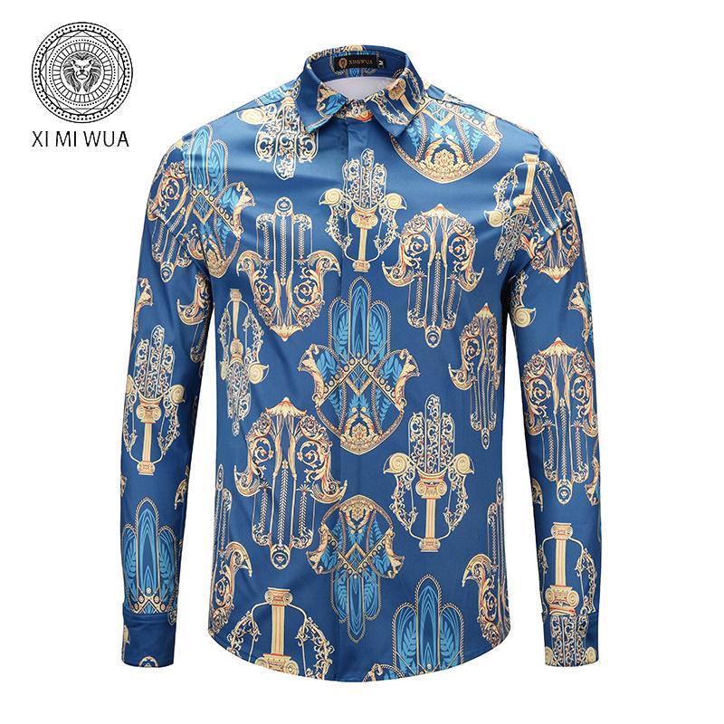Designer Slim Fit Shirts Männer-Schwarz-Gold Blumendruck Mens Dress Shirts Langarm Shirts Männer-Kleidung Designer Hemd Männer Kleiden