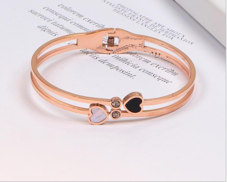 Алмаз черный и белый любовь браслет 18 карат розового золота любовь полый браслет