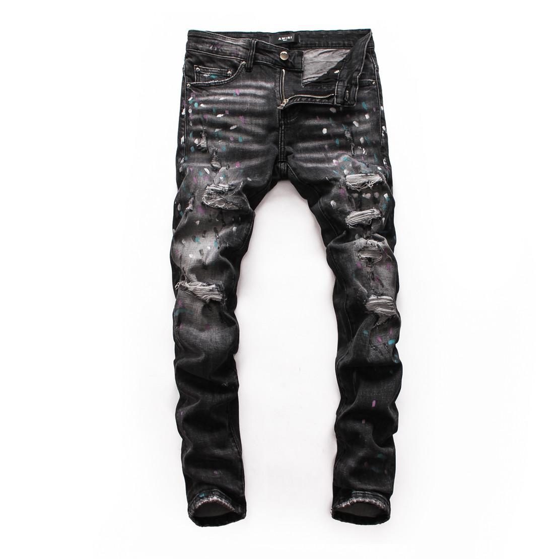 2020 Новые мужские Узкие джинсы Проблемные рваные джинсы Байкер Slim Fit Мотоцикл Байкер Denim для мужчин марка мужские рваные джинсы мужские бегуны