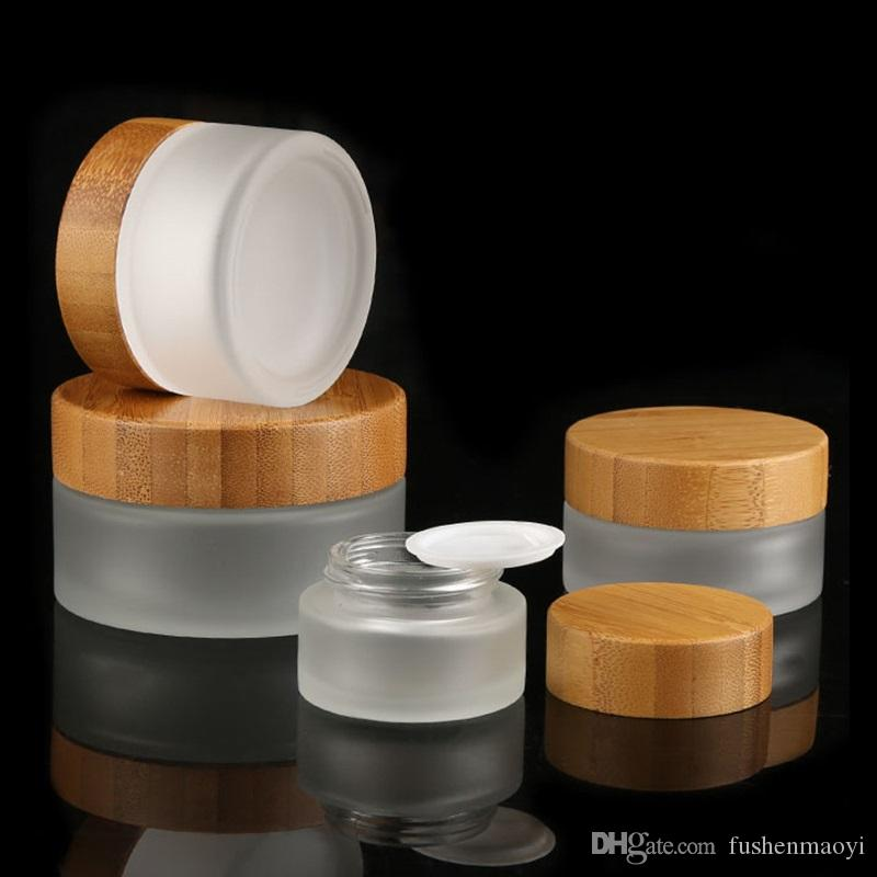 Bouchon de bambou givré de bouteilles de crème en verre givré ronds cosmétiques poteaux à la main bouteille de crème 15g-30g-50g avec couverture de doublures intérieures PP