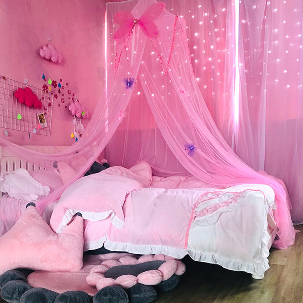 Girls Mesh Canopy Princess Hung Butterfly Mosquito Net Lightweight Bed Room Reading Round Dome Crib Netting Kids Play