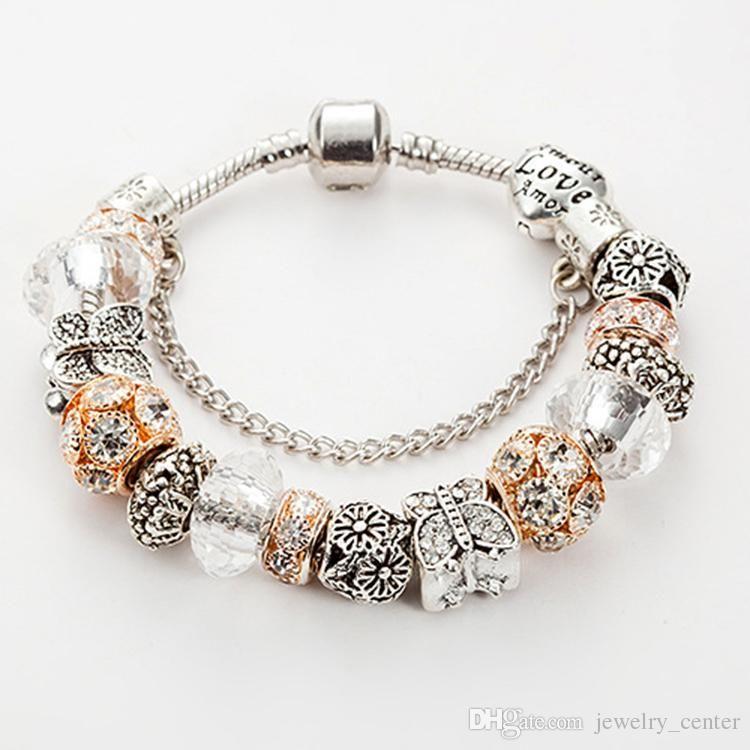 أزياء 925 الفضة مطلي فراشة سحر سوار مورانو GlassCrystal الخرز سحر الأوروبي لباندورا أساور هدية مجوهرات