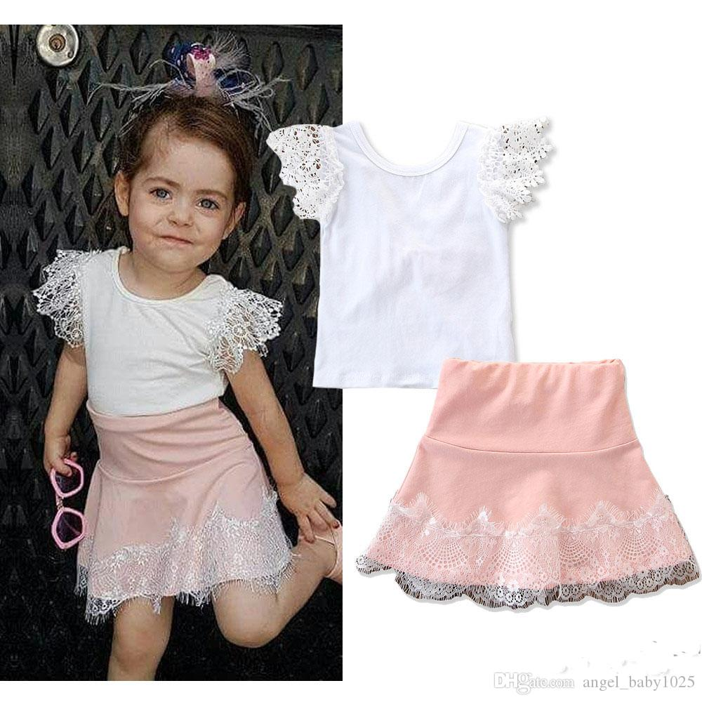2019 summer new children's fashion girls suit explosion models lace white short-sleeved halter bow T-shirt + pink skirt suit