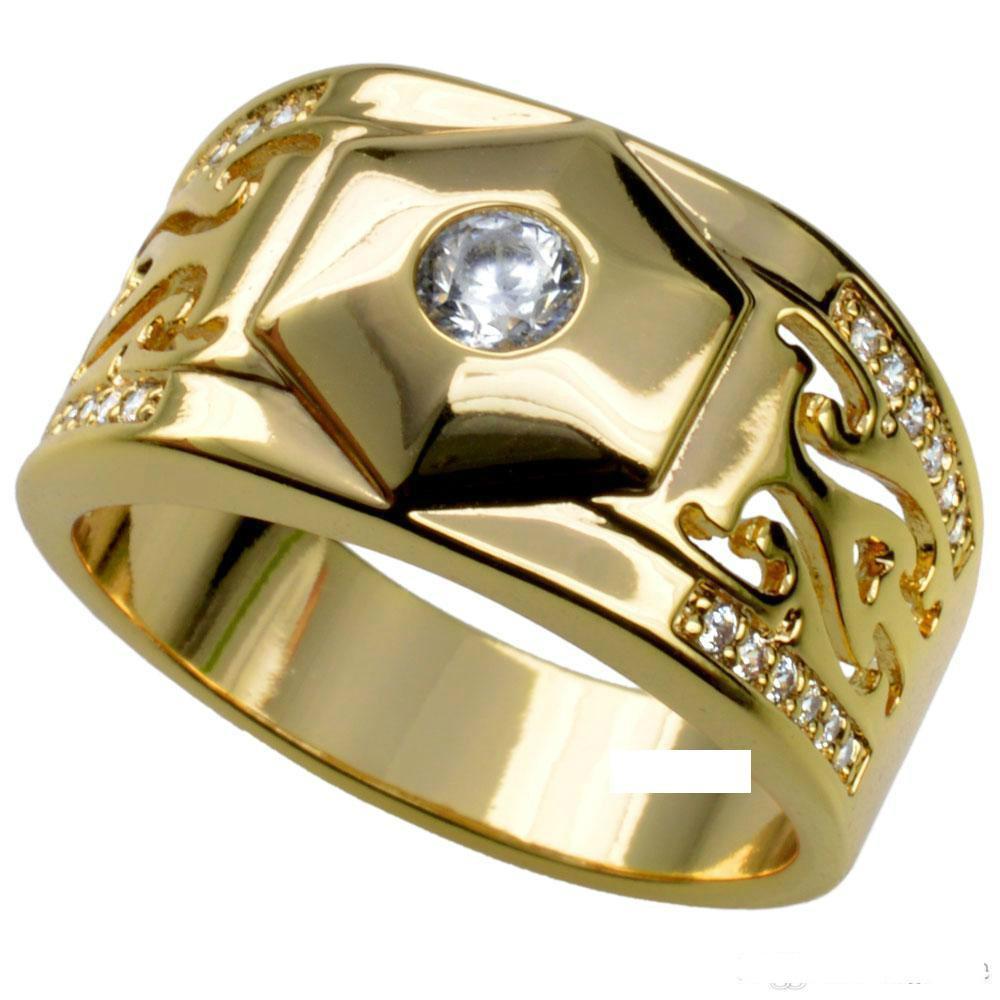 MENS 18K GOLD يملأ WEDDING خاتم الخطوبة BAND (R285) SZ 8-1589