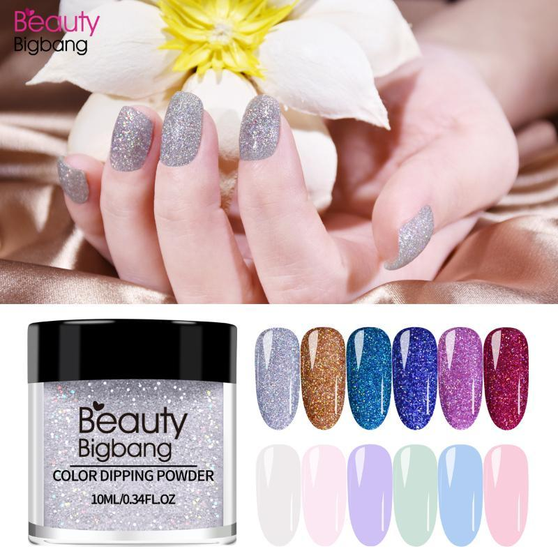 BEAUTYBIGBANG Dipping Nail Pulver Gradient Französisch Nail Natural Color Holographic Glitter ohne Lampe Cure-Kunst-Dekorationen