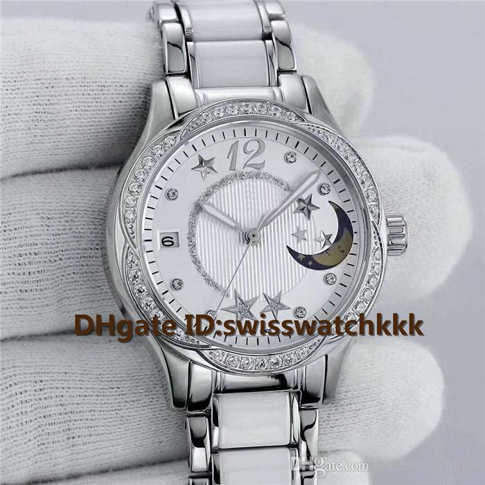 2019 Top moda mulher relógios Swiss Automatic Mecânica Safira de Cristal de Diamante 316L Aço Caso Pulseira De Aço De Cerâmica relógios de Senhoras 35 m