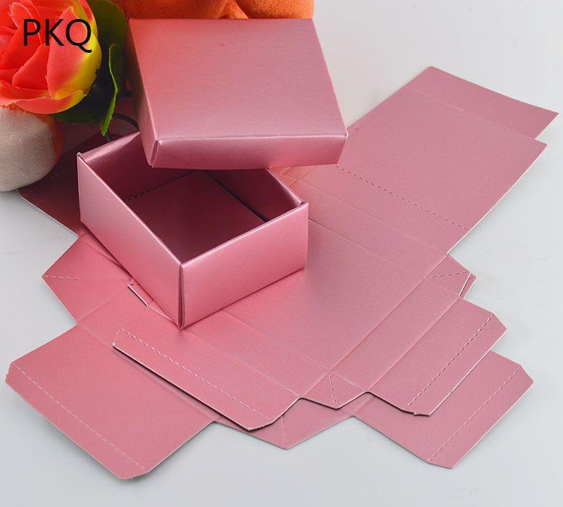 뚜껑 20PCS / LOT 로즈 골드 컬러 선물 골 판지 상자, 작은 웨딩 캔디 / 초콜릿은 상자 보석 상자 포장