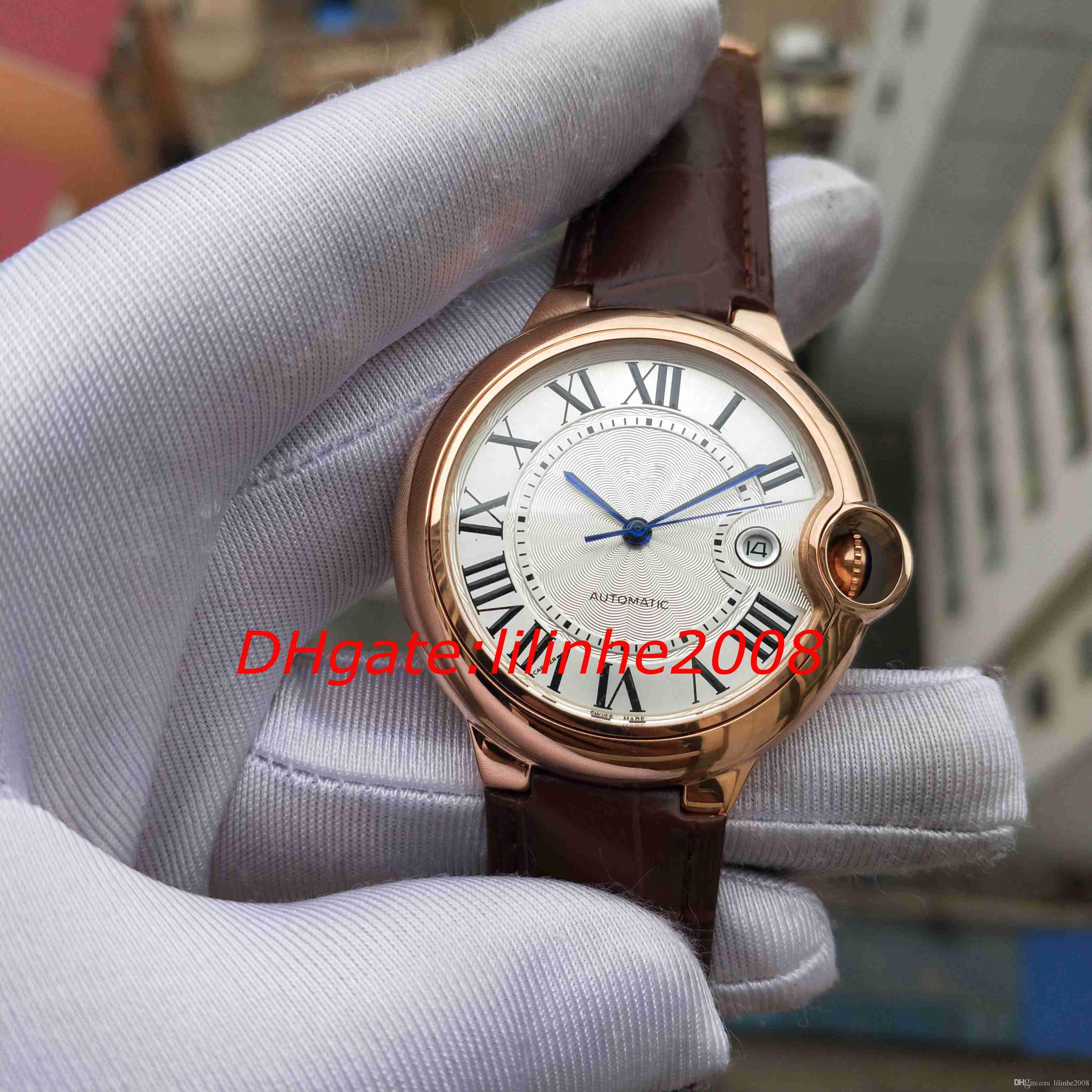 3 estilo de luxo de alta qualidade Assista série balão azul WGBB0017 Rose 42MM ouro Brown pulseira de couro movimento automático mens relógios