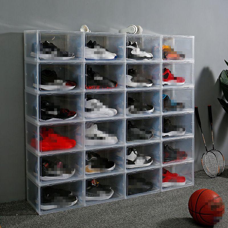 جديد شفافة البلاستيك كرة السلة تخزين مربع تخزين مربع الأحذية اليابانية سميكة فليب مربع تخزين الأحذية المنظم JXW656