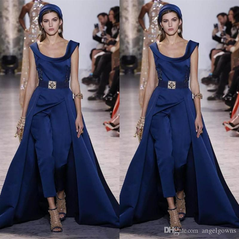 Ellie Saab Jumpsuit Prom Dresses With Detachable Overskirt 2019 Sweep Train Satin Navy Blue Women Dress Evening Wear Party Gown Plus Size