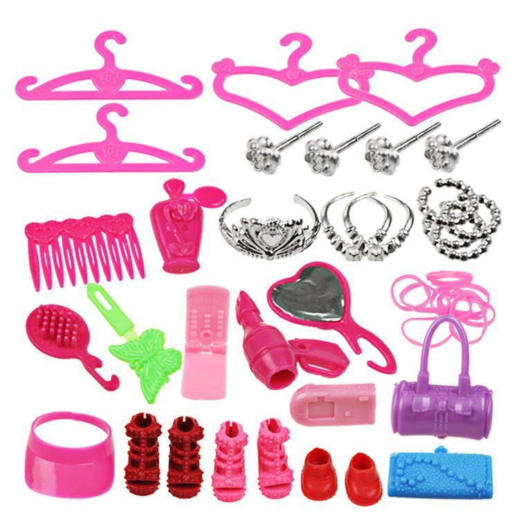 Puppe Zubehör Kinder Spielzeug 42 teile / satz Schuhe Tasche Kleiderbügel Kamm Armband Für Kind Geschenk Spielzeug