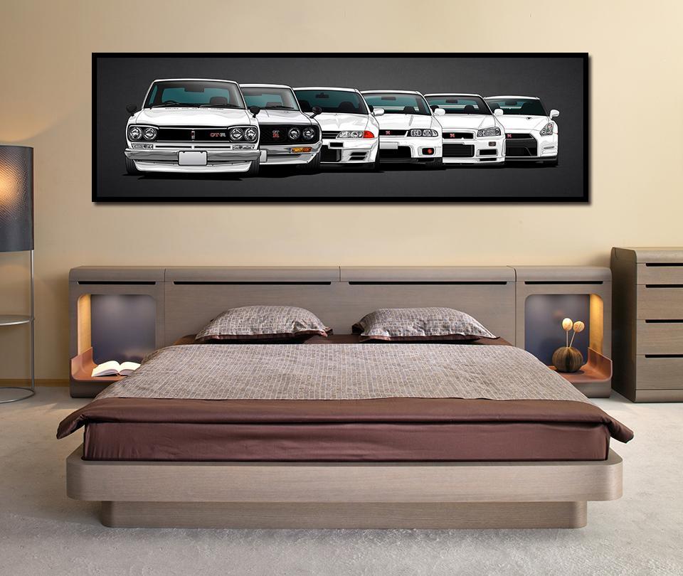 Tuval Boyama HD Baskı Modüler Modern Artwork 5 adet Nissan Horizon GTR Araba Resimleri Başucu Ev Dekoratif Wall Art Poster