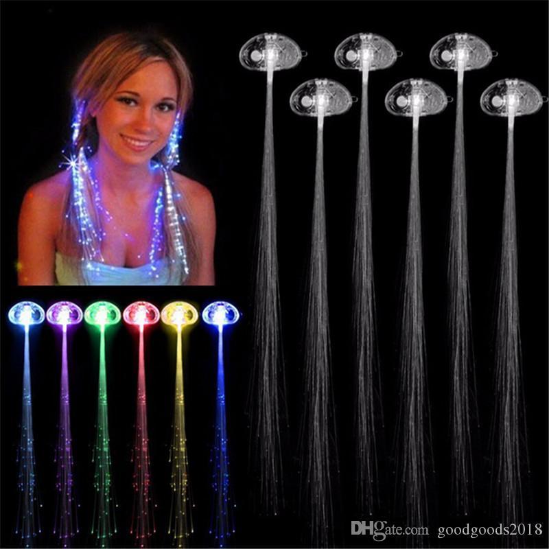 Luminous Light Up LED Haarverlängerung Flash Braid Party Mädchen Haar Glow von Glasfaser Für Party Weihnachten Halloween Nachtlichter Dekoration S