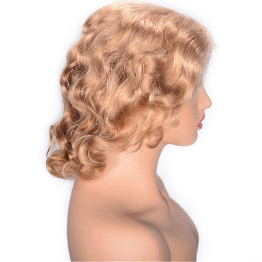 Curly Lace Front Wigs with Baby Hair #27 Brazilian Human Hair Glueless Lace Wig Pre Colored 12 inch