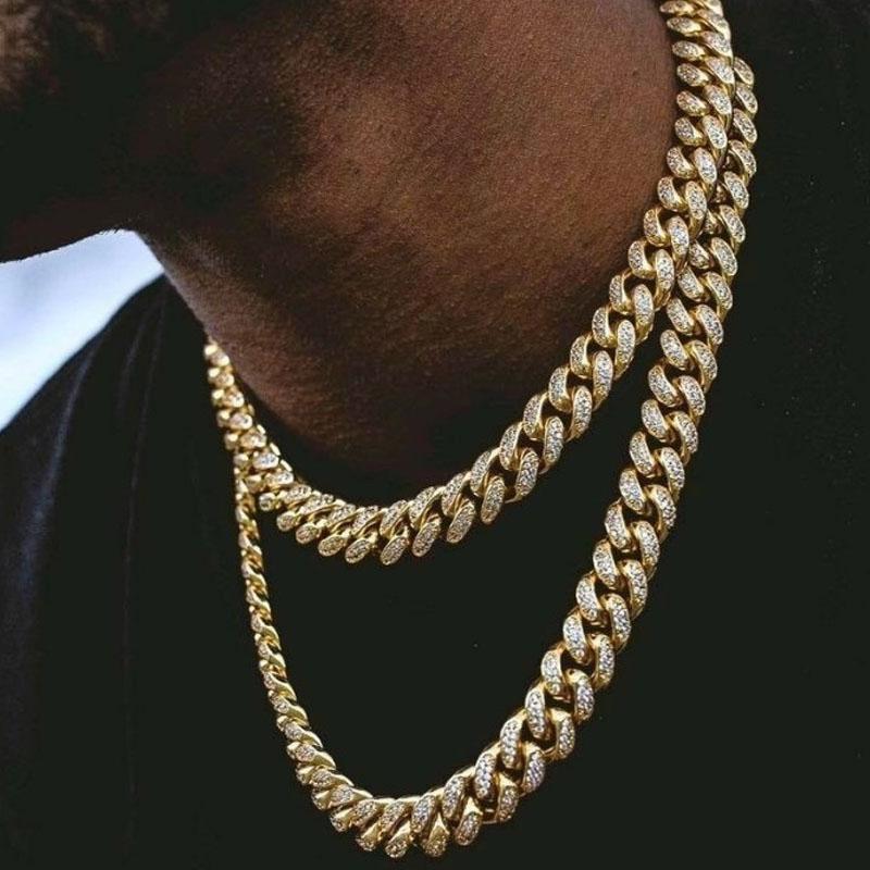 Presente de aniversário cubana Chain Link Diamond Men Colar Jóias Designer Colar cadeia de luxo Designer Jóias Mulheres Colar cadeia de jóias