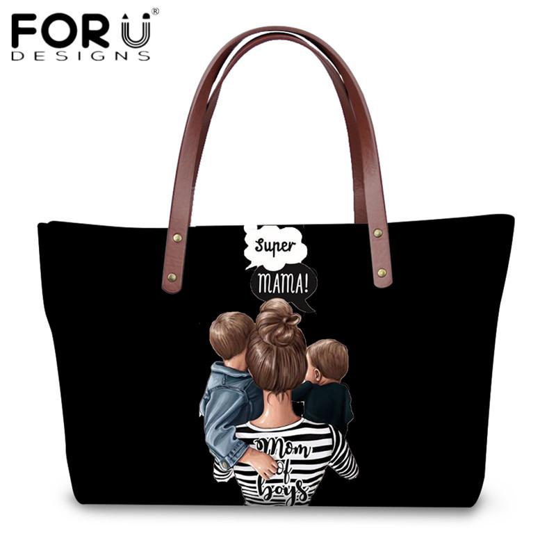 FORUDESIGNS Fashion Super Mom Baby Girls Boys Print Handbags Large Capacity Shoulder Bags for Ladies Travel Shopping Tote Bag