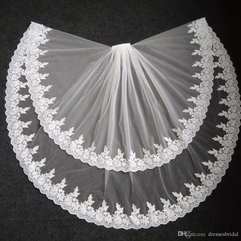 2019 veillements de mariée élégante bord de lacets Deux couches de mariée voile tulle ivoire blanc 2017 Veu de Noiva accessoires de mariée avec peigne réel