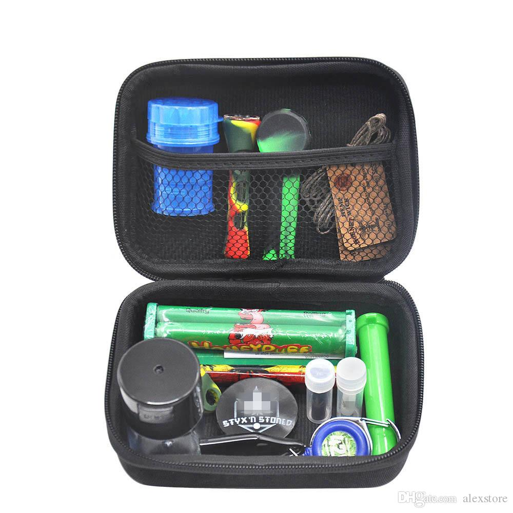 Formax420 Kits Pipes Set With Herb Grinder 12Pieces Glass Cup Bowl Container Storage Case Roller Smoking Accessories Carry Zipper Bag DHL