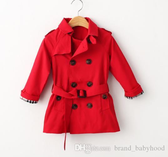 Yeni Çocuk Coat Ceket Çocuk WINDBREAKER Sonbahar Moda Uzun Kollu Çift Breasted Ayarlanabilir Bel Dış Giyim Boys