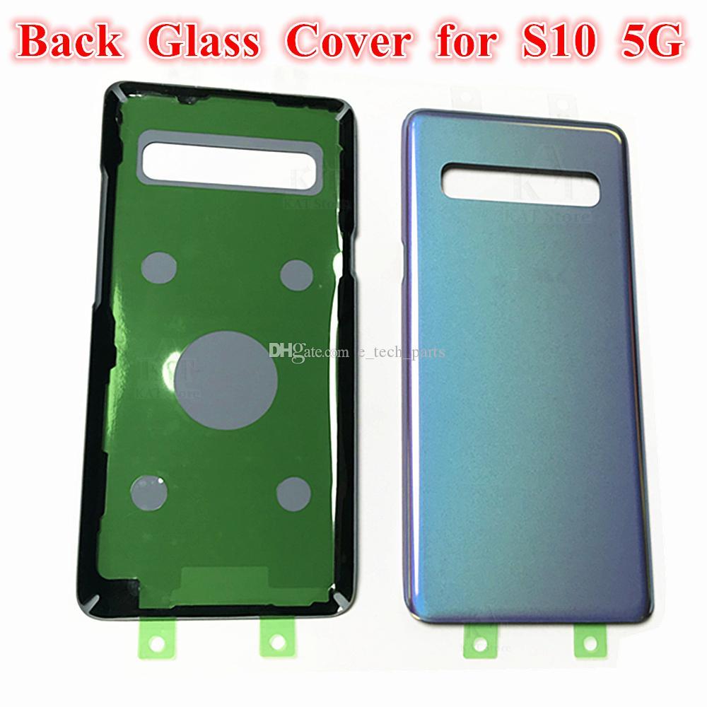 SAMSUNG Galaxy S10 5G sürümü VS G977 G977F G977B Pil Geri Cam Kapak + logosu Arka Kapı Konut Case Değiştirme için Orjinal arka plakaları