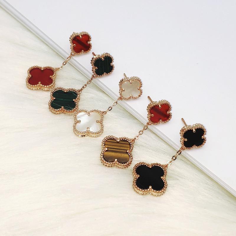 Le Japon et la Corée du Sud Nouvelle Double Fleur Cinq Trèfle Boucles d'oreilles femmes de haute qualité de la mode de luxe sauvage d'or Boucles d'oreilles Explosion de Bijoux