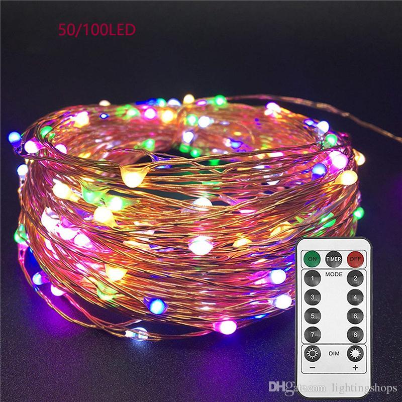 LED أضواء سلسلة Twnikle الجنية أضواء ماء 8 طرق 50Led 100 بقيادة USB التوصيل في قطاع الأسلاك النحاسية اليراع عطلة أضواء
