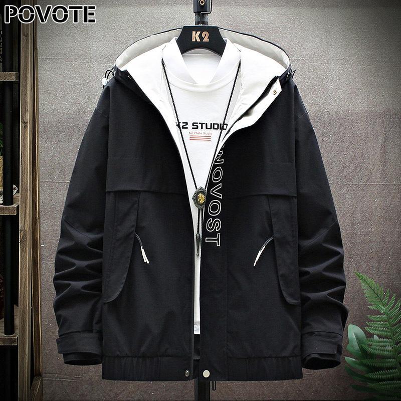 POVOTE бренд мужской цвет блокировании с капюшоном пальто куртки хип-хоп куртки корейский Trend TOOLING мужской дизайн тенденции