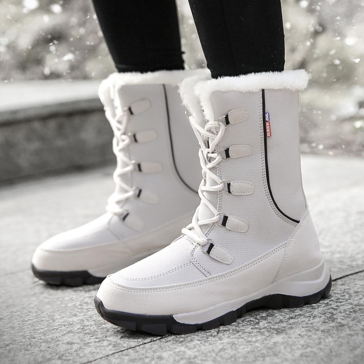 الثلج أحذية نسائية دافئ الفراء القطيفة المرأة الكاحل أحذية الكعوب ساحة PU قصيرة أحذية نسائية أحذية الانزلاق على أحذية الشتاء المرأة