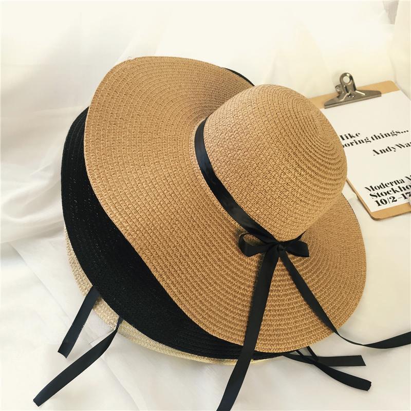 Verano de las muchachas del casquillo Negro Decorar la cinta onduladas del Sombrero de Paja para niñas niños del sombrero de Panamá para niños del sol del casquillo del bebé de la playa de sombreros
