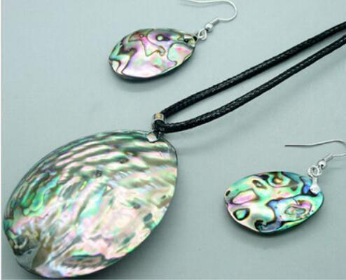 Jewelryr Pearl Набор Натуральный Новозеландский Paua Abalone Shell 70 мм Подвеска / Колье Серьги Бесплатная Доставка