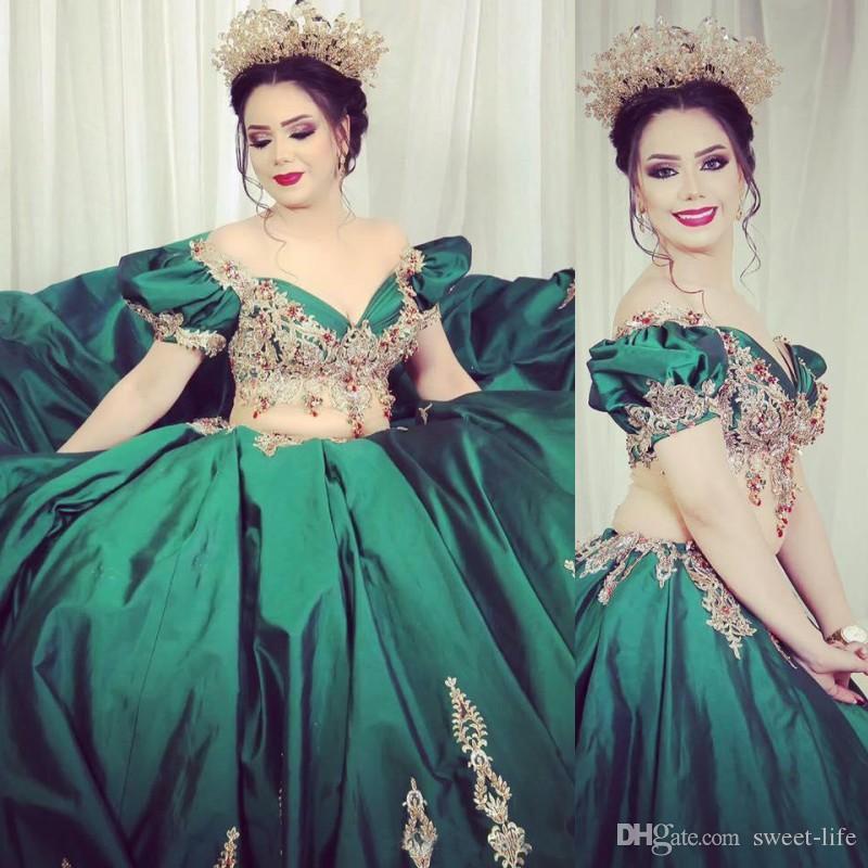 Grüne Mädchen Quinceanera Kleider weg von der Schulter zwei Stücke Strass Perlen Abendabendkleid Applikationen mit kurzen Ärmeln formalen Partei-Kleider