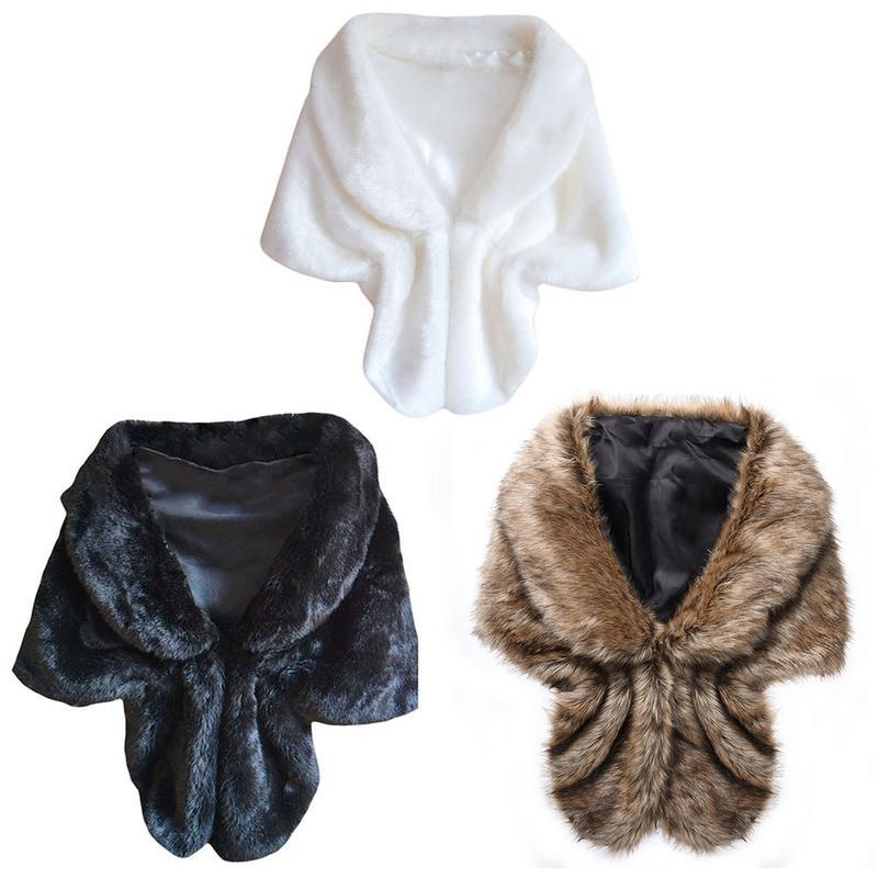 Caliente la piel de imitación de piel chaleco Capa manera del invierno abrigos nupciales del partido de tarde de la boda del mantón de Cabo Faux Wrap fz2652 Escudo