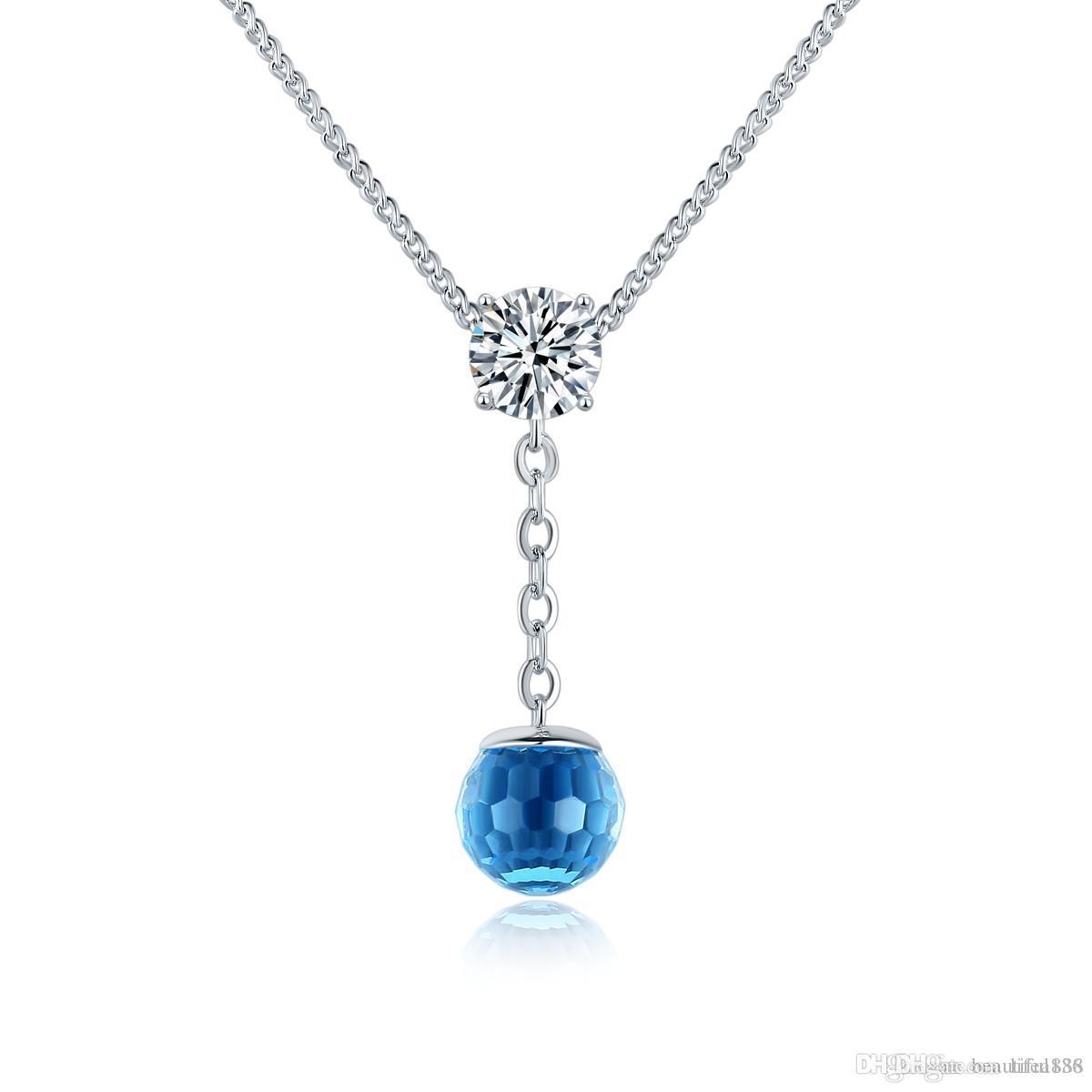 Hochwertige österreichische Kristallkugel kommt aus dem Swarovski Element Anhänger Ocean Wind Halskette Frauen Mädchen Dame Schmuck