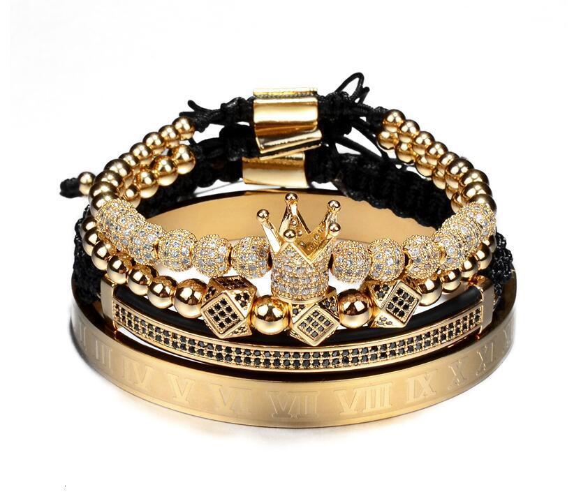 Hot Sale Classical Handmade Braiding Bracelet Gold Hip Hop Men Pave CZ Zircon Crown Roman Numeral Bracelet Jewelry
