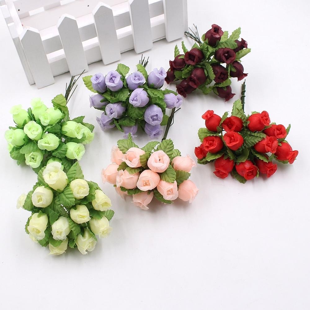 12 adet / grup Yapay Çiçek 2 cm Ipek Yüksek Kaliteli Gül Buketi Düğün Dekorasyon Diy Çelenk Hediye Kutusu Klip Sanat Çiçek