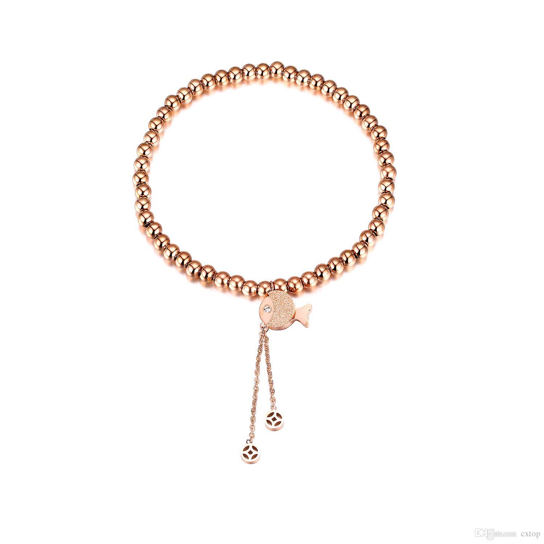 pulseiras de aço inoxidável cúbico Moda zircão ouro rosa fosco pequeno peixe contas pulseira wholesole pulseira de presente da menina