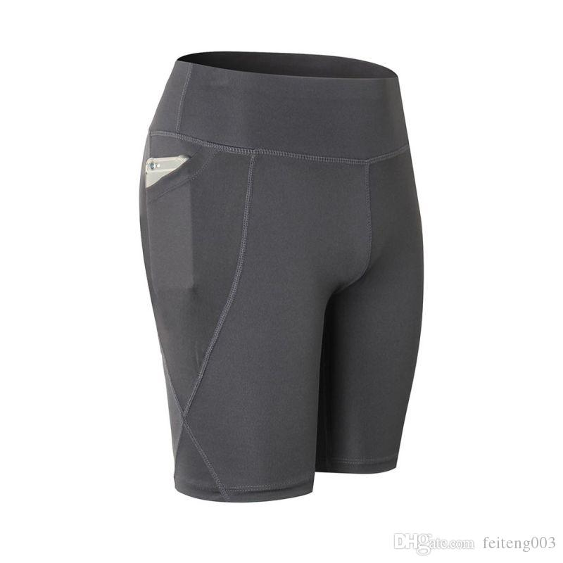 Hot! Women's Summer High Waist + Pocket Fitness Yoga Sport Shorts Quick-drying Breathable Run Gym Workout Sport Shorts Th #545789