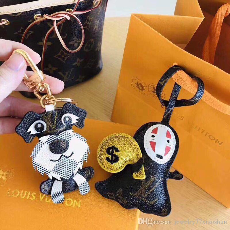 Duck Image Design Black Leather Keyring in Gift Box