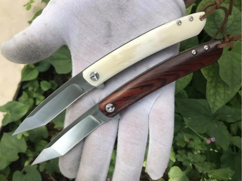 High Quality New 2 Styles Ball Bearing Flipper Folding Knife 14C28N Satin Tanto Point Blade Cow Bone / Rosewood Handle EDC Knives