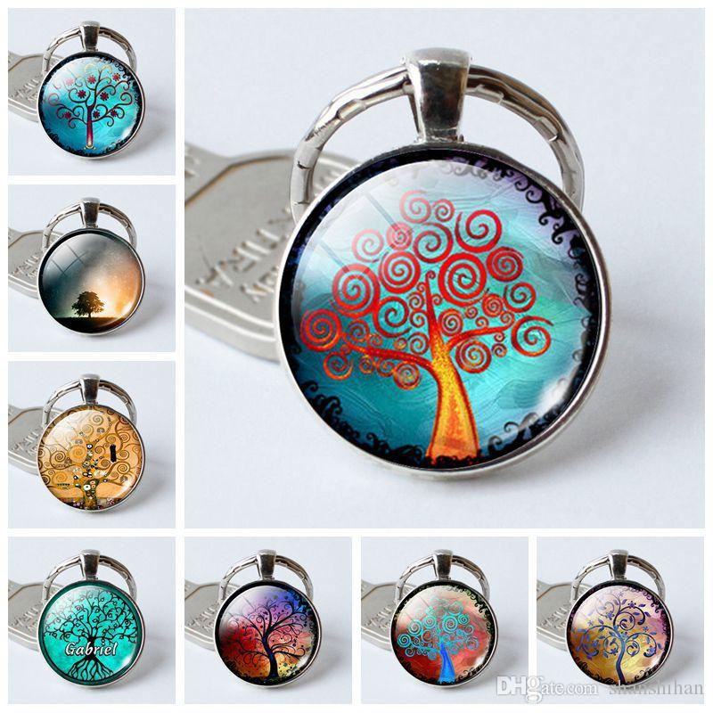 2019 nouvelle mode charme pendentif porte-clés vie arbre temps pierre gemme verre porte-clés bijoux créatifs cristal porte-clés