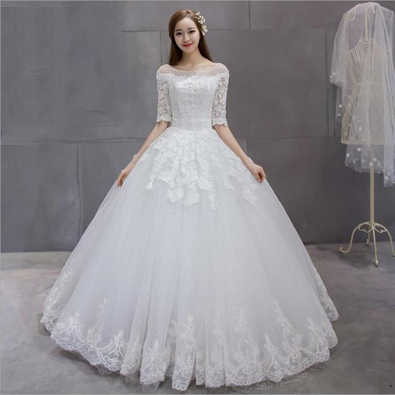 Bola de Tulle del cuello de la cucharada de encaje vestido de novia con medias mangas 2017 ata para arriba los vestidos de boda