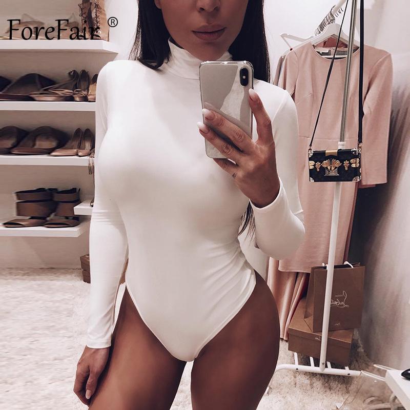 Forefair Seksi Katı Turtleneck Vücut Femme Uzun Kollu Sonbahar Kış Şık İnce BODYCON Siyah Beyaz bodysuit Womens Tops