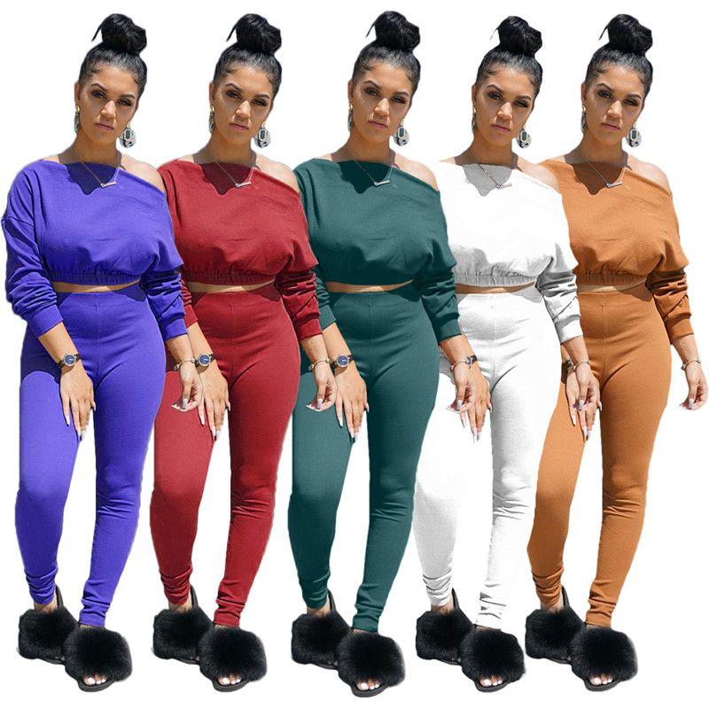Женщины сексуальные из двух частей сплошной цвет с длинным рукавом футболка облегающие брюки дизайнер осень зима одежда мода повседневный костюм бесплатная доставка 1312