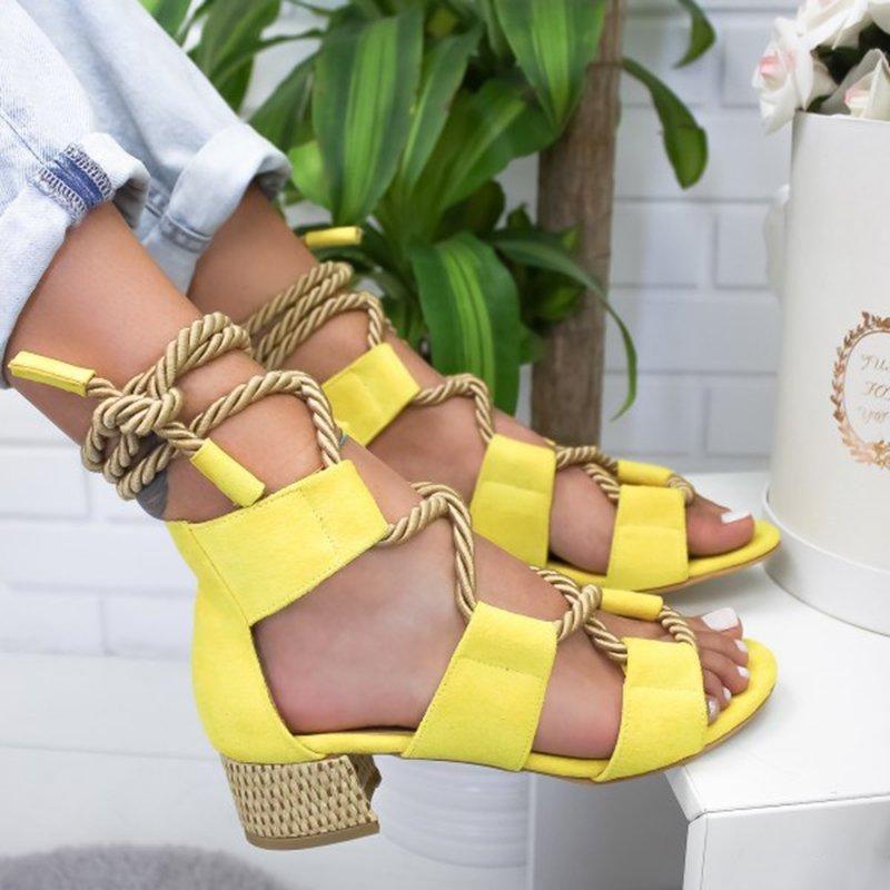 Été nouveau bohême épais sandales à lacets femmes occasionnels patchwork talon sandales 4 couleurs de grande taille 40-43