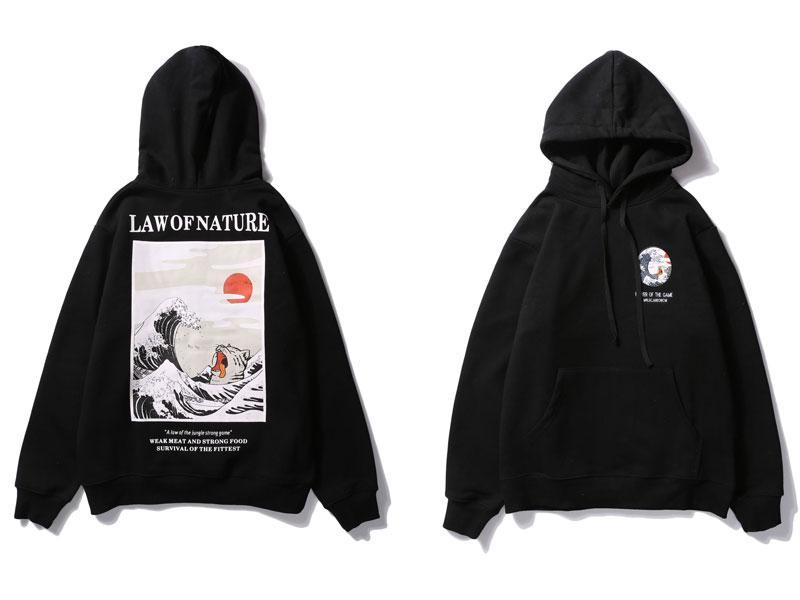 Japanese Embroidery Funny Cat Wave Printed Fleece Hoodies 2018 Winter Japan Style Hip Hop Casual Sweatshirts Streetwear RS-198
