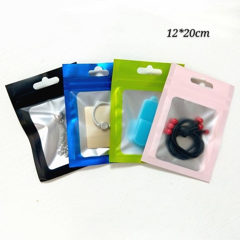 Sacs d'emballage d'emballage de camion à fermeture à glissière 100pcs 12 * 20cm Matte, 4,72 * 7,87inch Paquet de cadeau MyLar Sac à fermeture à glissière, accessoires de téléphone Pochette d'emballage